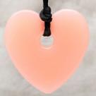 Pink Cupcake Heart Pendant Teething Bling Necklace