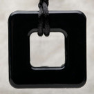 Onyx Square Pendant Teething Bling Necklace