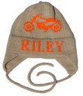 Butterscotch Personalized Vintage Motorcycle Knitted Hat with Earflaps