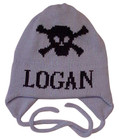 Butterscotch Personalized Skull Crossbones Knitted Hat with Earflaps