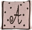 "Butterscotch Personalized Monogrammed Polka Dots Knitted Pillow (15"" x 15"")"