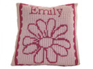 "Butterscotch Personalized Flower Knitted Pillow (15"" x 15"")"