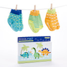 """Fossil Feet"" 3-Piece Dinosaur Socks Baby Gift Set"