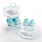 """Chomp & Stomp"" Shark Bib and Booties Baby Gift Set"