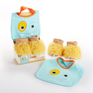 """Chomp & Stomp"" Blue Monster Bib and Booties Baby Gift Set"