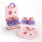 """Chomp & Stomp"" Pink Monster Bib and Booties Baby Gift Set"