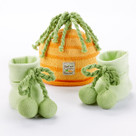 """Peas and Carrots"" Cap and Booties Baby Gift Set"
