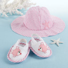 """Coastal Cutie"" Pink Sun Hat and Spa Booties Baby Gift Set"