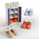 """Buoy Boy"" 3 Pair of Boat Shoe Style Socks Baby Boy Gift Set"