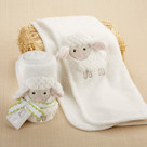 """Love Ewe Lamb"" Plush Velour Baby Blanket Baby Gift Set"