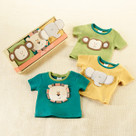 """Safari Friends Tiny T's"" Set of 3 T-Shirts Baby Gift Set"