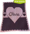 Heart with Banner Personalized Stroller Butterscotch Blankee