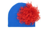 Royal Blue Cotton Baby Hat with Large Curly Marabou