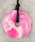 Pink Calcite Donut Pendant Teething Bling Necklace