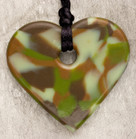 Green Camouflage Heart Teething Bling Necklace