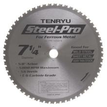 "Steel-Pro Saw Blade, 7-1/4"" Dia, 56T, 0.071"" Kerf, 5/8""KO Arbor, Tenryu PRF-18556CB"