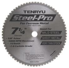 "Steel-Pro Saw Blade, 7-1/4"" Dia, 70T, 0.069"" Kerf, 5/8""KO Arbor, Tenryu PRF-18570CBN"