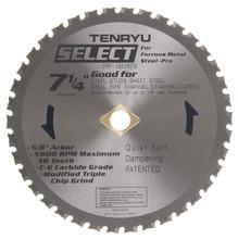 "Steel-Pro Select Saw Blade, 7-1/4"" Dia, 38T, 0.079"" Kerf, 5/8""KO Arbor, Tenryu PRF-18538DS"