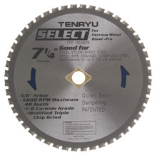 "Steel-Pro Select Saw Blade, 7-1/4"" Dia, 48T, 0.079"" Kerf, 5/8""KO Arbor, Tenryu PRF-18548DS"