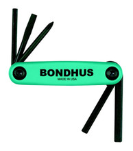 Bondhus 12540 - Set of 5 Utility Fold-up Tools #1 Phillips, 3/16 Slotted, 4mm Hex, 5mm Hex, 6mm Hex