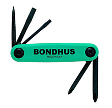 Bondhus 12545 - Set of 5 Utility Fold-up Tools #1 Phillips, #2 Phillips, 1/8 Slotted, 3/16 Slotted, Awl