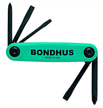 Bondhus 12547 - Set of 5 Utility Fold-up Tools #1 Phillips, #2 Phillips, 1/8 Slotted, 3/16 Slotted, 1/4 Slotted