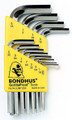 Bondhus 16236 - Set of 12 BriteGuard Plated Hex L-keys .050-5/16 - Short