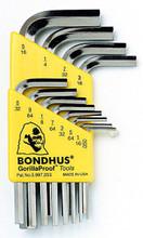 Bondhus 16236 - Set of 12 BriteGuard Plated Hex L-keys .050-5/16 - Short
