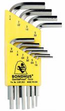 Bondhus 16238 - Set of 10 BriteGuard Plated Hex L-keys 1/16-1/4 - Short