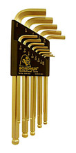 Picture for reference only. Actual product contains sizes listed in description. Bondhus 37936 - Set of 12 GoldGuard Plated Ball End Hex L-keys .050-5/16
