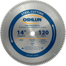 Oshlun SBF-140120 14-Inch 120 Tooth TCG Saw Blade with 1-Inch Arbor for Mild Steel and Ferrous Metals