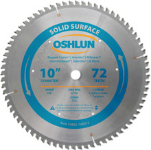 Oshlun SBSS-100072 10-Inch 72 Tooth TCG Saw Blade with 5/8-Inch Arbor for Solid Surface