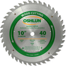 Oshlun SBW-100040 10-Inch 40 Tooth ATB General Purpose Saw Blade with 5/8-Inch Arbor