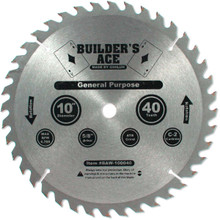 Oshlun BAW-100040 10-Inch 40 Tooth Builder's Ace General Purpose ATB Saw Blade with 5/8-Inch Arbor