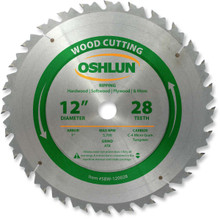 Oshlun SBW-120028 12-Inch 28 Tooth ATB Ripping Saw Blade with 1-Inch Arbor