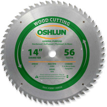 Oshlun SBW-140056 14-Inch 56 Tooth ATB General Purpose Saw Blade with 1-Inch Arbor