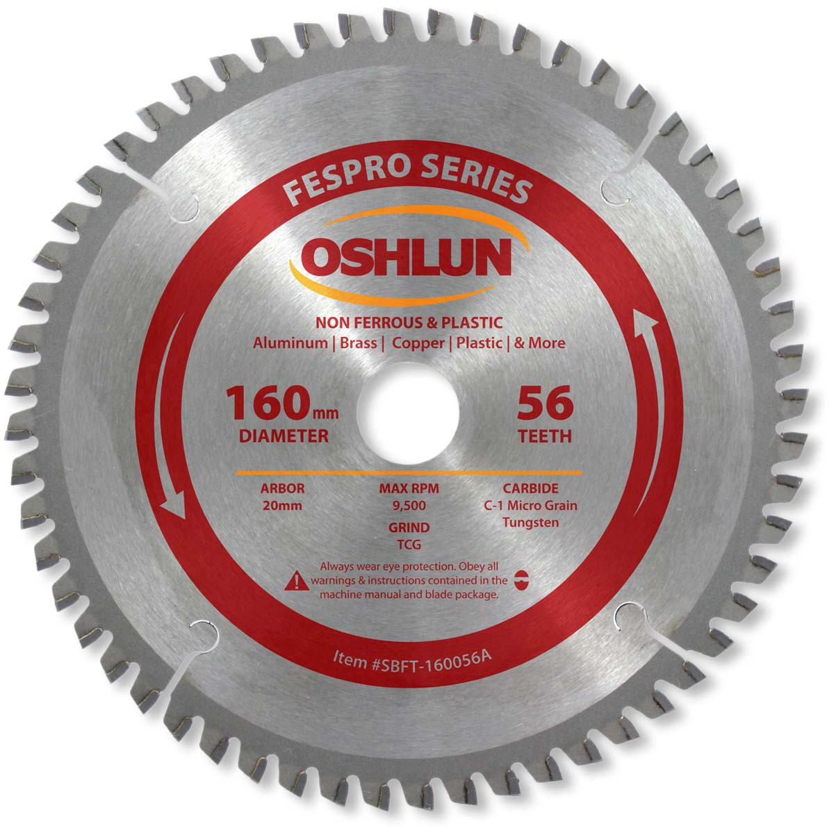 Fespro non ferrous saw blade 160mm x 56t x 20mm arbor oshlun sbft fespro non ferrous saw blade 160mm x 56t x 20mm arbor oshlun sbft 160056a greentooth Images