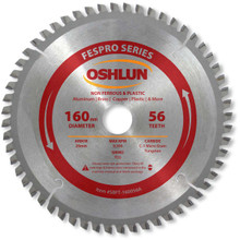 Oshlun SBFT-160056A 160mm 56 Tooth FesPro Non Ferrous TCG Saw Blade with 20mm Arbor for Festool TS 55 EQ, DeWalt DWS520, and Makita SP6000K