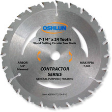 Oshlun SBW-072524-B10 7-1/4-Inch 24 Tooth ATB Contractor Series General Purpose and Framing Saw Blade with 5/8-Inch Arbor (Diamond Knockout)