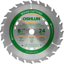 Oshlun SBW-082524 8-1/4-Inch 24 Tooth ATB General Purpose and Framing Saw Blade with 5/8-Inch Arbor (Diamond Knockout)