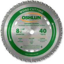 Oshlun SBW-082540 8-1/4-Inch 40 Tooth ATB Finishing and Framing Saw Blade with 5/8-Inch Arbor (Diamond Knockout)