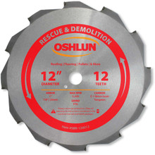 Oshlun SBR-120012 12-Inch 12 Tooth FTG Saw Blade with 1-Inch Arbor (7/8-Inch and 20mm Bushings) for Rescue and Demolition