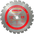 Oshlun SBR-120024 12-Inch 24 Tooth FTG Saw Blade with 1-Inch Arbor (7/8-Inch and 20mm Bushings) for Rescue and Demolition