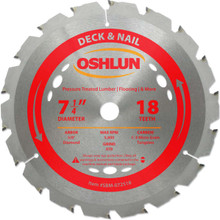 Oshlun SBM-072518 7-1/4-Inch 18 Tooth ATB Deck and Nail Saw Blade with 5/8-Inch Arbor (Diamond Knockout)