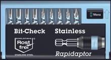 9 Pc Stainless Steel Bit Set (HX/PH) , 10pk, Wera 05071112005