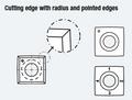 4 Sided 1 Hole Insert Knife, 100mm Radius, 15mm x - Carbide Processors I-151525 BYRD