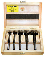 "Forstner 5 Piece Set in Fitted Wooden Box, Sizes 5/8"" to 1-3/8"""