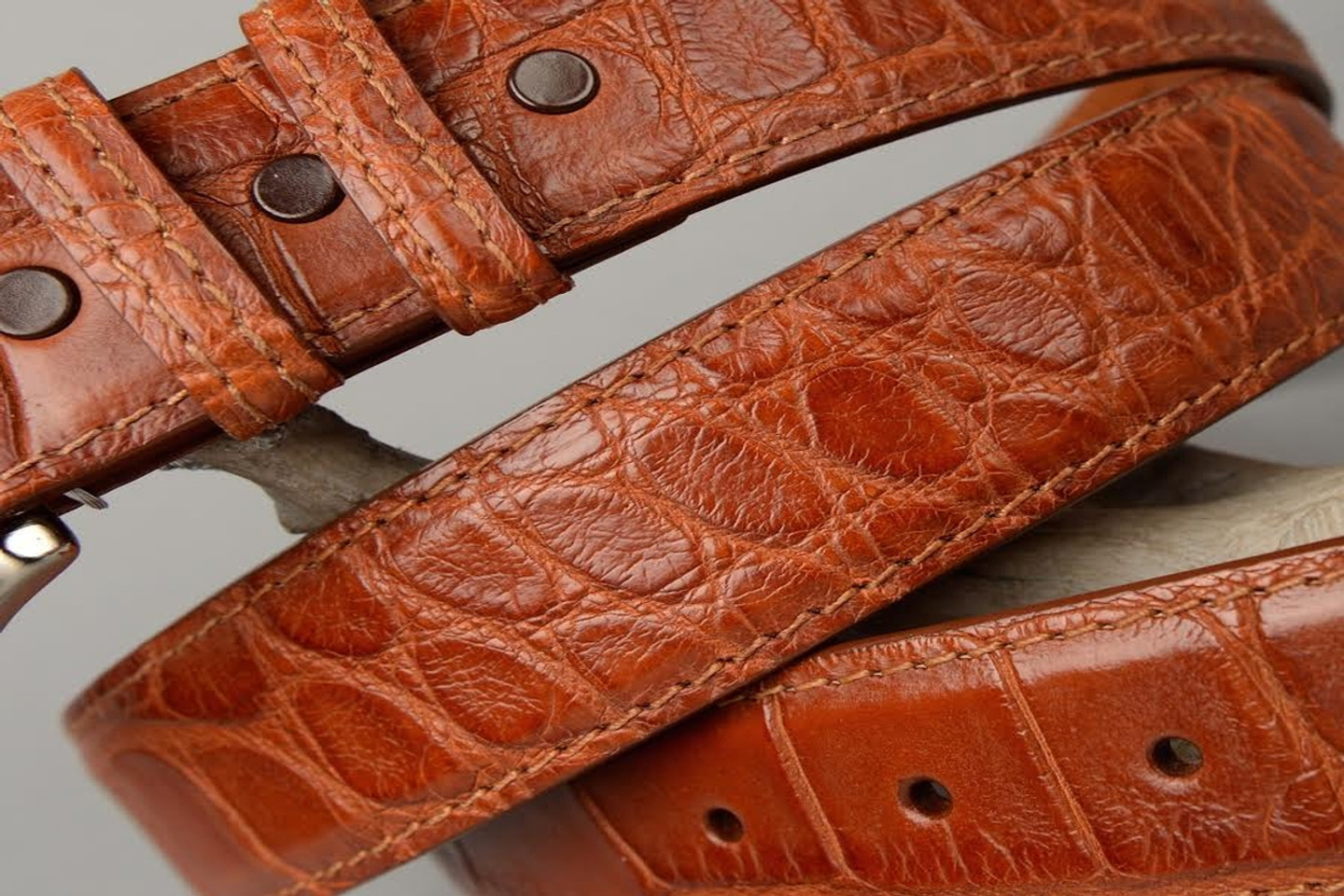 Matte Cognac American Alligator Belt with Matching Edge and Stitch.