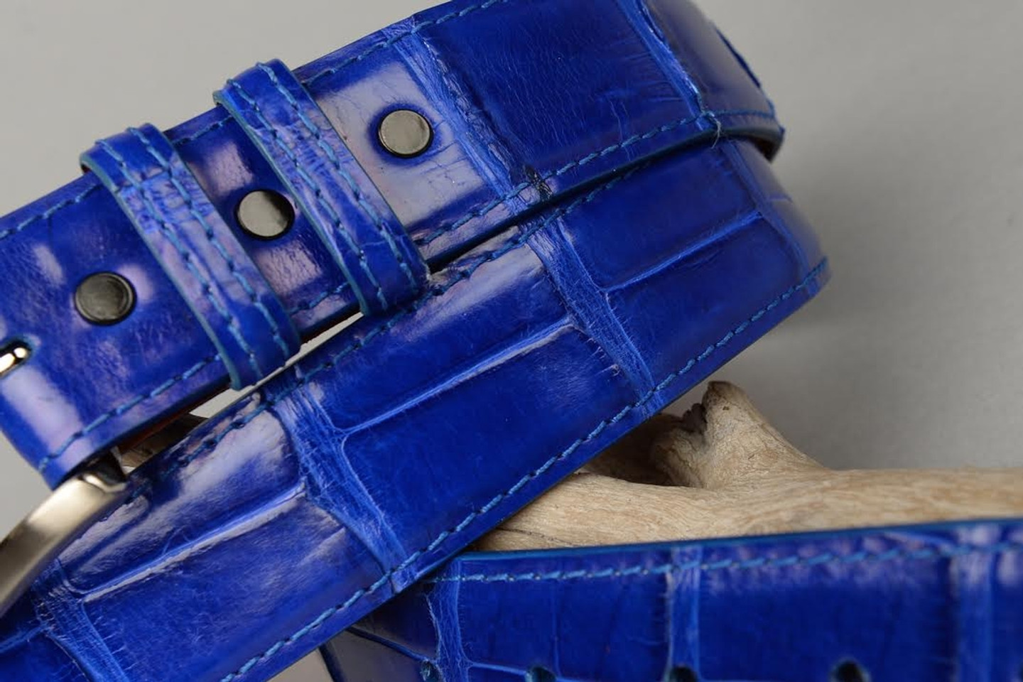 Glazed Royal Blue American Alligator Belt with Matching Edge and Stitch.