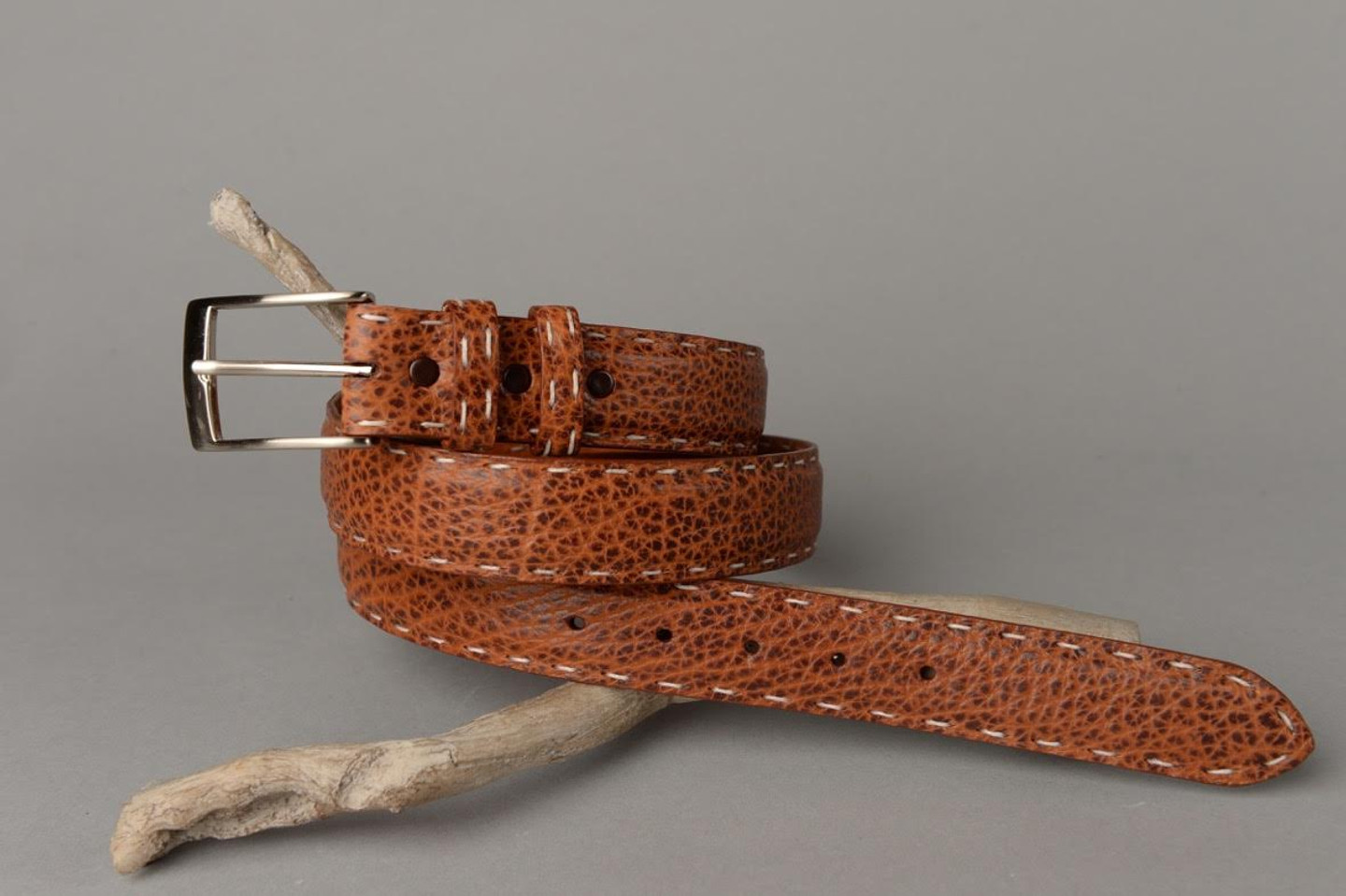 American bison belt shown with optional hand laced pick stitch